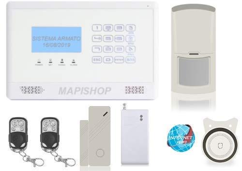 Mapishop CLARENCE Antifurto Allarme Casa nuovo modello 2020, Con INTERNET wifi, Combinatore GSM app Gratuita ios/android- COMPLETAMENTE CONFIGURATO (CLAR BIANCA VIBRO)