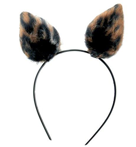 Haarreif Mieze Katze Leopard Plüsch Ohren mit Marabubesatz schwarz (Katze Schwarz Plüsch Kostüme)