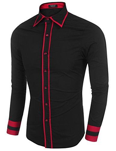 Coofandy Chemise Homme à Manches Longues Casual Contraste Couleur Patchwork Sport Noir