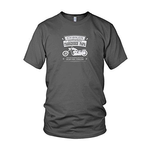 Biker Harley Kostüm - Ich Bin EIN Motorrad Fahrender Papa - Herren T-Shirt, Größe: L, Farbe: grau
