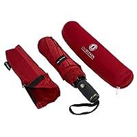 VAN BEEKEN Folding Umbrella Windproof for Mens Women - Strong, Small, Light-Weight, Auto Open Close - Compact Windproof Travel Umbrella 95cm Red