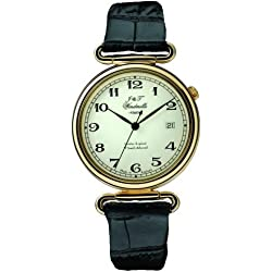 Black Leather Gold Plated Silver Mechanical Watch