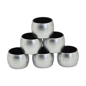 Serviettenringe - rund - Silberfarben - 6 Stück