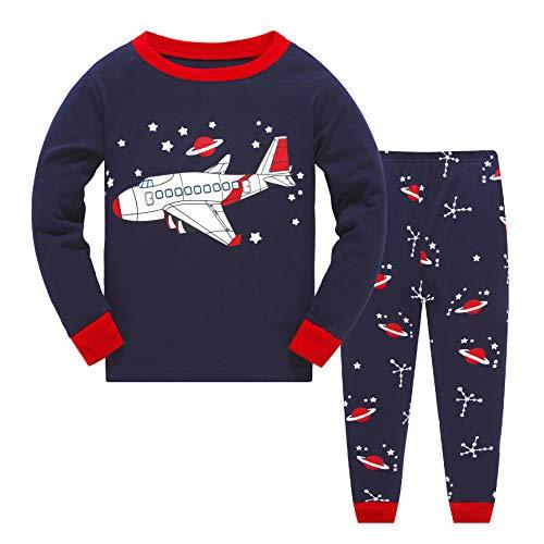 Qzrnly Schlafanzug-Set für Kinder von 2 bis 8, Jungen und Mädchen, mit Weihnachtsmuster, aus Baumwolle, Nachtwäsche, T-Shirts, Tops und Hosen, Pyjama-Sets, Outfit Gr. 7-8 Jahre, Schwarz