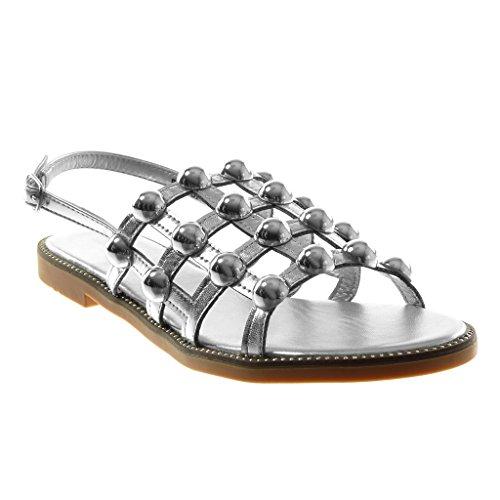 Angkorly Chaussure Mode Sandale Spartiates Lanière Cheville Femme Perle Clouté Multi-Bride Talon Bloc 1.5 cm Argent