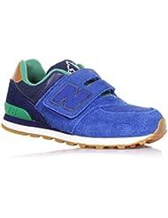 New Balance–Zapato ginnica 574Azul y Verde, De Ante Y Tejido, con cierre de velcro, logo lateral y posterior, niño, Niño Size: 35