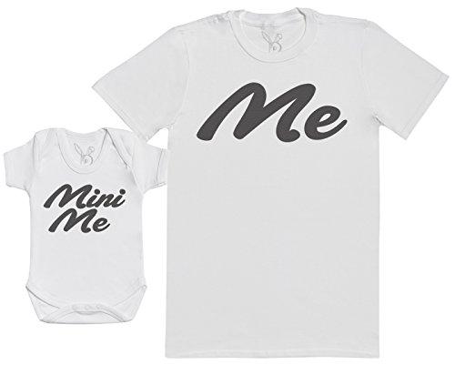 Me & Mini Me - Passende Vater Baby Geschenkset - Herren T-Shirt & Baby Strampler/Baby Body - weiß - M & 0-3 Monate