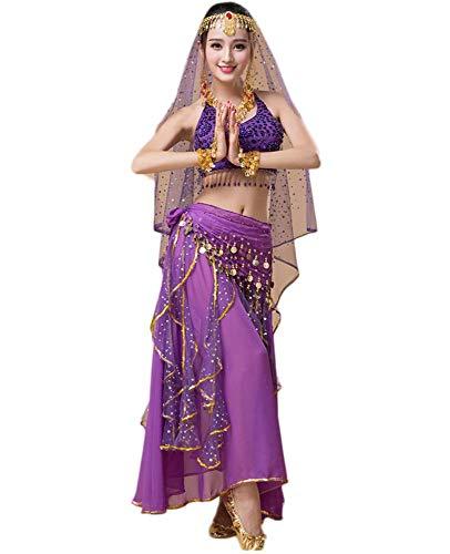 Princess Indian Kostüm - Yuyudou Damen Tanz kostüme, Indien Bauchtanz Outfit Anzug, Indian Princess Theme Bauchtanz Kostüm Set,Purple,L