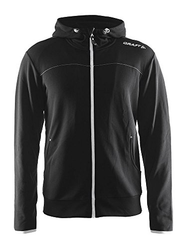 Craft Herren Sweatshirt Leisure Full Zip Hood Black-Silver, M Long Sleeve Full Zip Fleece