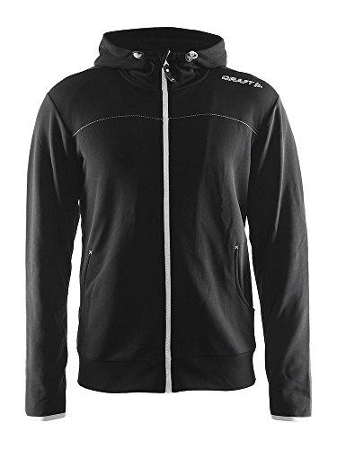 Craft Herren Leisure Full Zip Hood Sweatshirt, Black-Silver, XL Zip Front Hooded Sweatshirt Shirt