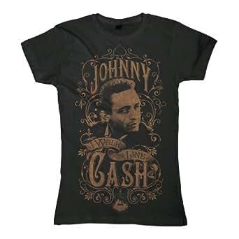 original JOHNNY CASH Damen T-Shirt Girlie Frauen WALK THE LINE Schwarz Gr. S-XL (XL)