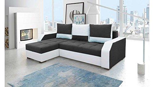 Justhome aris divano angolare divano letto tessuto finta pelle (axlxp): 90x245x150 cm bianco nero penisola a sinistra