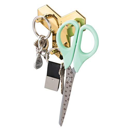 iDesign 54489EU Affixx Geo Haken für Jacken, Mäntel, Handtücher - goldfarben, Plastik, Gold, 8,1 x 8,28 x 2,8 cm