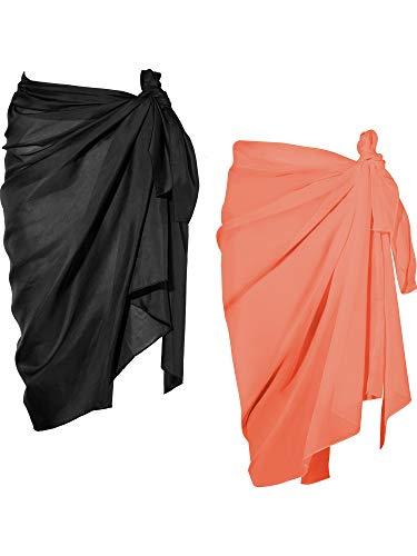2 Pièces Wrap de Plage de Femmes Sarong Couverture de Bikini Jupes Wrap pour Maillot de Bain en Mousseline (Noir et Jaune, Long A)