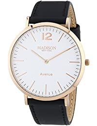 MADISON NEW YORK Avenue - Reloj de cuarzo unisex, correa de cuero color negro