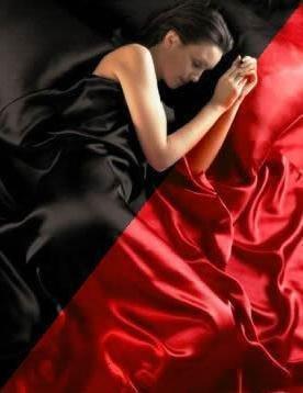 Parure de Lit Satin Housse de Couette Rouge Noire Reversible , Drap Housse + 4 Taies 2 Personnes 200 x 200 cm 6PCS