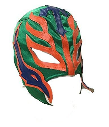 UK Halloween Karneval Cosplay Grün Wrestling Rey Mysterio Son of the Devil Reißverschluss - Kinder Voller Kopf Maske - Kostüm Verkleidung Kostüm Outfit Wwe Party (Wwe Halloween-kostüme Für Kinder)