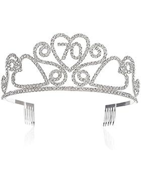 SWEETV Geburtstag Diadem Kristalle Geburtstagsfeier Birthday Krone Prinzessin Tiara Kopfschmuck mit Haarkämme, 70