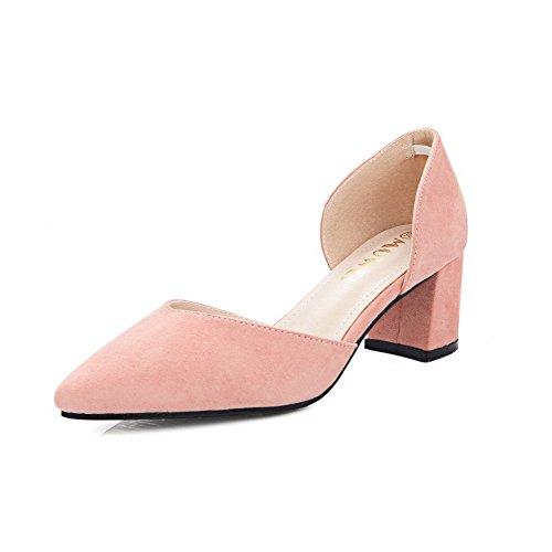 AalarDom Femme Suédé Dépolissement Couleur Unie Tire Pointu à Talon Correct Chaussures Légeres Rose