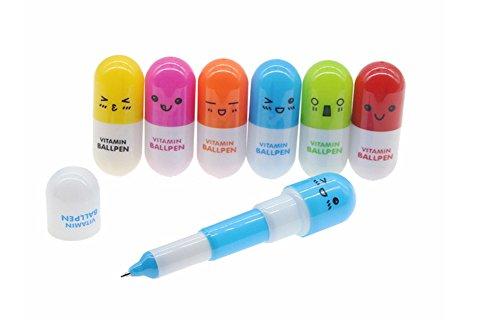 Cdet 6 Pcs Kugelschreiber Stift Gesichtsausdruck Englisch Kunststoff Ausdruck Pille Teleskop Stift Kapsel Stift Rot / Grün / Gelb / Blau / Orange / Rose Rot Kreativer Stift