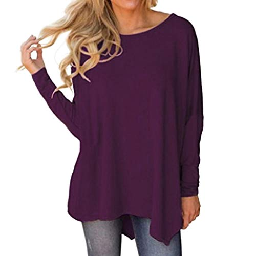 Lazzboy Womens Blouse Batwing Long Sleeve O Neck Solid Irregular Hem Tops Pullover(M(10),Purple)