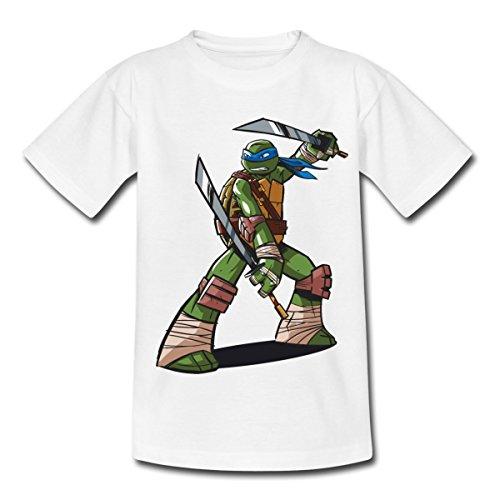 TMNT Turtles Leonardo Bereit Zum Kampf Kinder T-Shirt, 110/116 (5-6 Jahre), Weiß