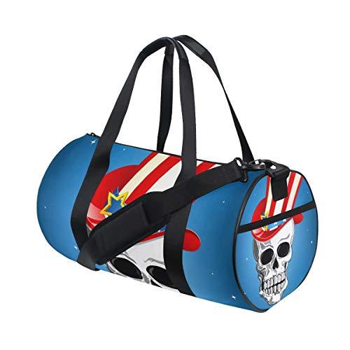 ISAOA Duffel Bag Totenkopf mit amerikanischem Hut faltbar Turnbeutel faltbar Barrel Gym Bag Sport Wasserabweisend Duffel Bag für Damen und Herren