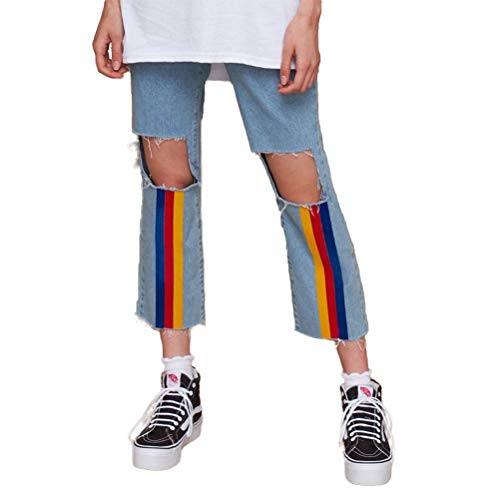 XIANGLIOOD Frauen Distressed Ripped Breite Manschette Rainbow Stripes Jeans Straight Pants - Schlanker Farbe Denim Capri