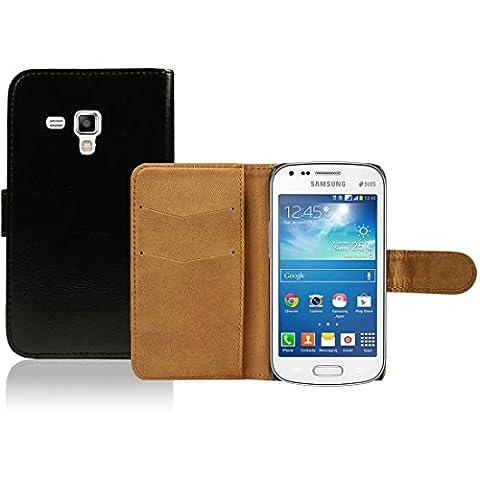 Samsung Galaxy S Duos 2 S7582 Premium Leder Flip Case - Schwarz Pu Leder SchutzHülle Brieftasche Case Für Samsung Galaxy S Duos 2 S7582 - (Samsung Galaxy S Duo 2)