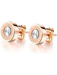 """bigsoho Rose Gold Plated Stainless Steel Earring Round Shape """"Love . Forever"""" Elegant stud Earrings for Women"""