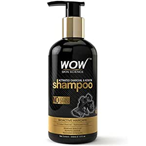 WOW Skin Science Charcoal & Keratin Shampoo - No Sulphates, Parabens, Silicones, Salt & Color (300mL)