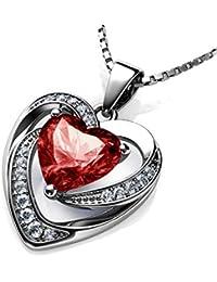 ae00d9ea65a0 DEPHINI - Collar de corazón rojo - Plata de ley 925 - Piedra de nacimiento  de Siam claro adornado con colgante de…