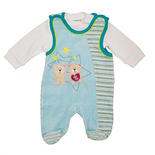 Baby Nicki Strampler 2 teilig mit Shirt (Langarmshirt) Junge, Unisex | Blau | Größe 62/68