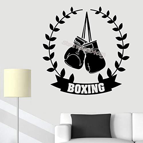 Boxhandschuhe Sport Wandaufkleber Lorbeer zweig dekoration Boxen Zitate Wohnkultur Teenager Raum GYM studio Martial Poster 56X56CM