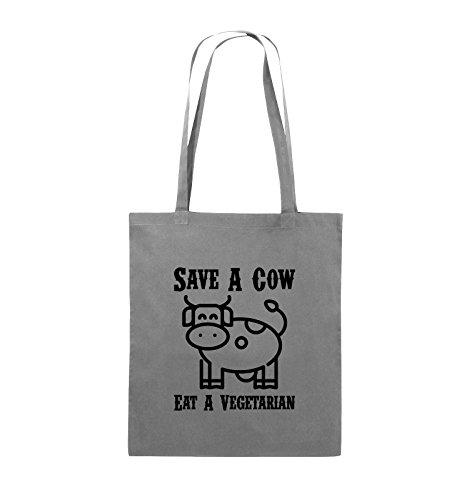 Comedy Bags - SAVE A COW EAT A VIGETARIAN - Jutebeutel - lange Henkel - 38x42cm - Farbe: Schwarz / Silber Dunkelgrau / Schwarz
