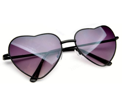 Unknown Heart Shaped Aviator Style Promi Shades In Black Mittel