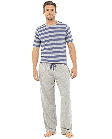 Vêtements de nuit lingerie de nuit Mens Gentlemens rayé Jersey manches courtes Pyjama costume Set, Blue s