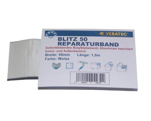 Preisvergleich Produktbild Vebatec Blitz Butyl Reparaturband Alu Weiss 50 mm / 1,5 m (4,85 € / m)