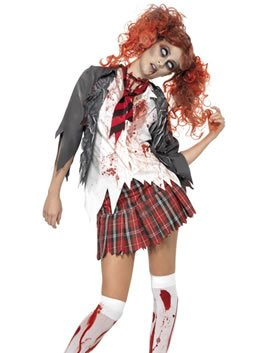 Nurse Kostüm Night Womens - Smiffys High School Horror Zombie Schoolgirl Costume Woman Halloween Fancy Dress