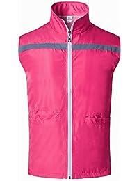 GOGO supermercado voluntarios uniforme chaleco, cremallera frontal chaleco de seguridad con bandas reflectantes, rosa