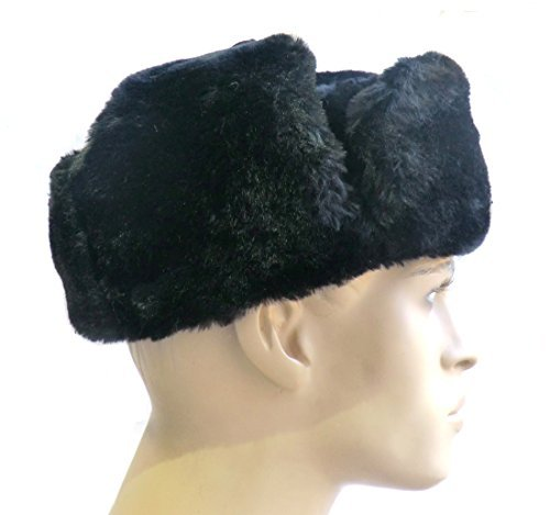 BLACK ORIGINAL RUSSIAN FUR USHANKA WINTER GENUIN WOOL COLD WAR BLACK