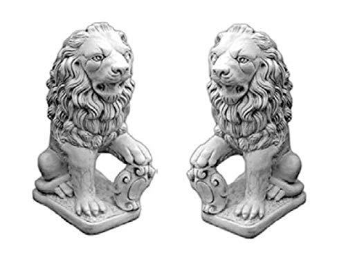 Defi Deko- und Figurenhandel Löwenpaar sitzend/weiß mit Schattierungen (H969+H970), Tierfiguren aus Steinguss, 2 Stück, Links + rechts, Höhe: je 71 cm, Gewicht: je 82 kg Defi Link