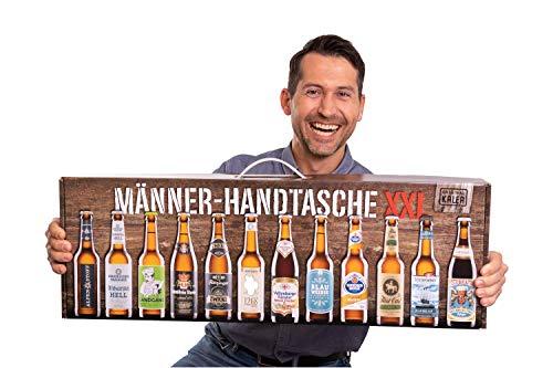 Kalea Männerhandtasche XXL | Geschenkidee | 12 x 0,33l Bier-Spezialitäten | Verkostungsanleitung | Geschenk-Karton mit Henkel | Geburtstagsgeschenk | Mitbringsel | Flaschenbiere von Privatbrauereien