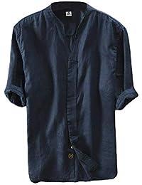 Lin Chemise Homme Été Chemise Col en V Shirt Décontractée Manches Courtes  Slim Fit Blouse Tops 0c36d1a281b