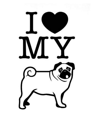 Ich Liebe Meinen Hund Vinyl Auto Aufkleber Abziehbilder, Abnehmbare Aufkleber 3D 2 Stücke Diy Decor 12,1X14 Cm