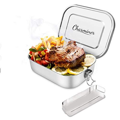 Charminer Brotdose aus Edelstahl,Bento Box,Metall Dichte Brotdose,Lunchbox für auslaufsicher1400mlFassungsvermögen mit Fächern,Die große Brotbox zum Wandern/Reisen für Erwachsene