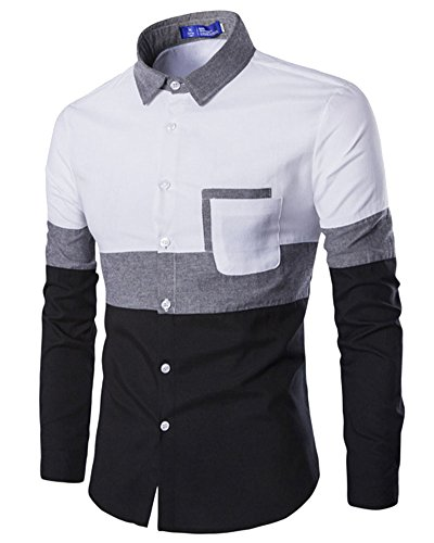 Homme Chemises Casual Slim Fit Manches Longues Shirt Tops Blanc