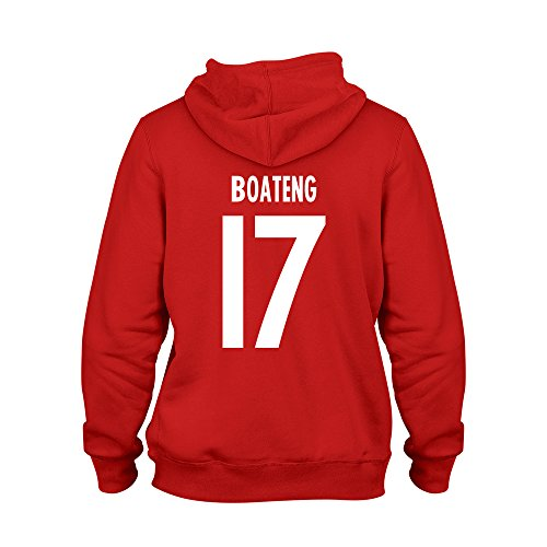 Jerome Boateng 17 Club Player Style Kids Hoodie Red/White, X-Large Boys (12-13yrs)