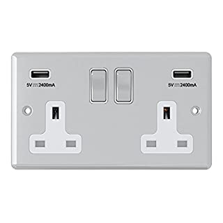 AET CPC2GUSBWC 2 Gang 13 A Double Plug Classical Chrome Polished Socket with USB Charging Ports and White Insert Metal Rocker Switch