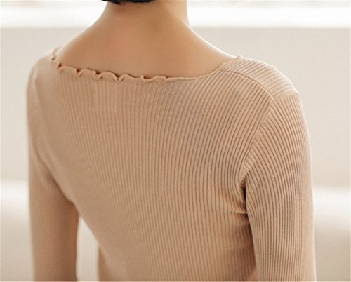 JOTHIN Girocollo Manica lunga Maglione Autunno Invernali Maglia Magliette Slim Fit Sweater Elasticizzati Casual Maglioni Donna Marrone